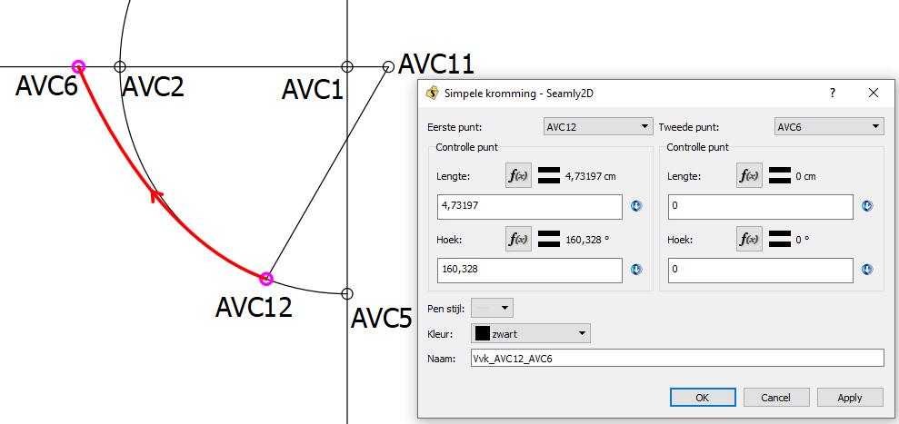 Kromming van AVC12 naar AVC6